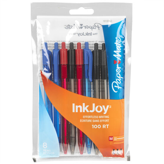 Paper Mate Ink Joy 100 Retractable Business Pens - Assorted - 8 Pack