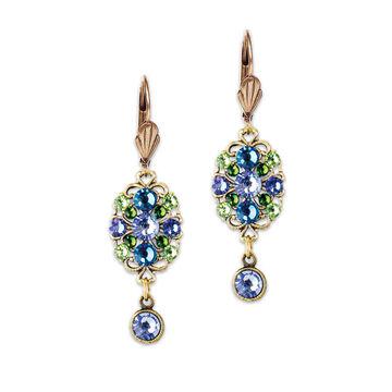 Anne Koplik Blue Oval Filigree Drop Earrings