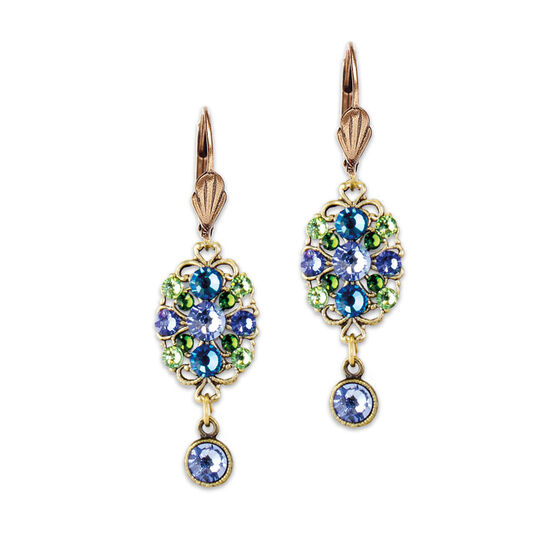 Anne Koplik Blue Oval Filigree Drop Earrings