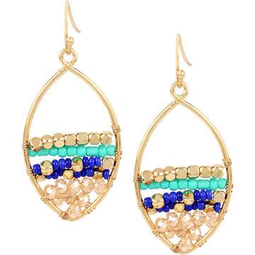 Haskell Beaded Teardrop Earrings - Turquoise