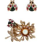 Betsey Johnson Flower Ring and Bug Earrings Set - Multi/Gold