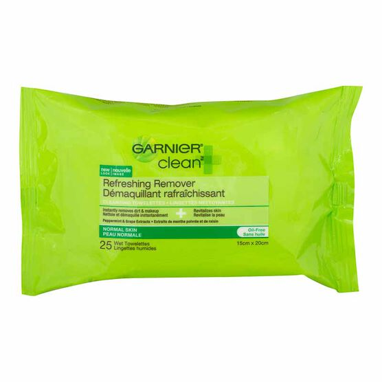 Garnier Clean Refreshing Remover Wet Cleansing Towelettes - Normal Skin - 25's