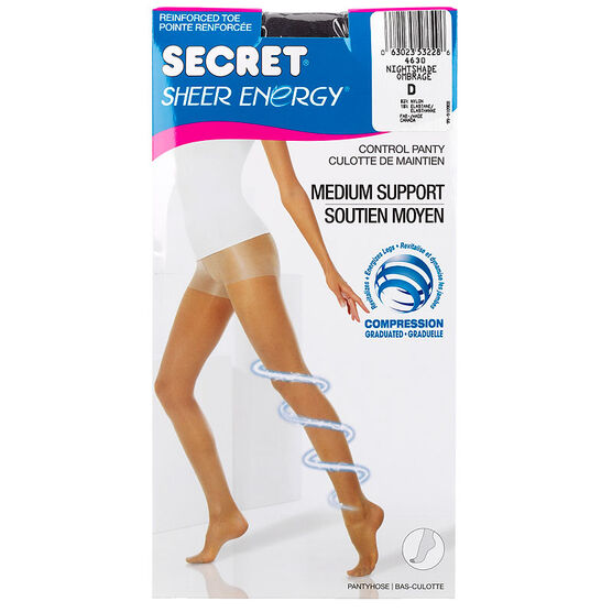 Secret Sheer Energy Control Pantyhose - Nightshade - D