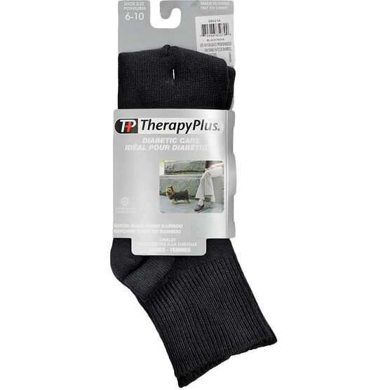 TherapyPlus Diabetic Ladies Quarter Socks - Bamboo - Black