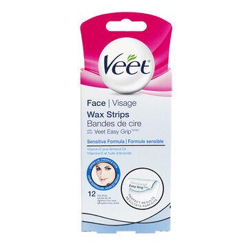 Veet Ready to Use Facial Wax Strips - Sensitive Formula - 12's