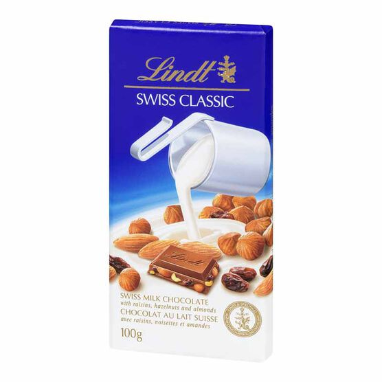 Lindt Chocolate Bar - Raisin and Nut - 100g