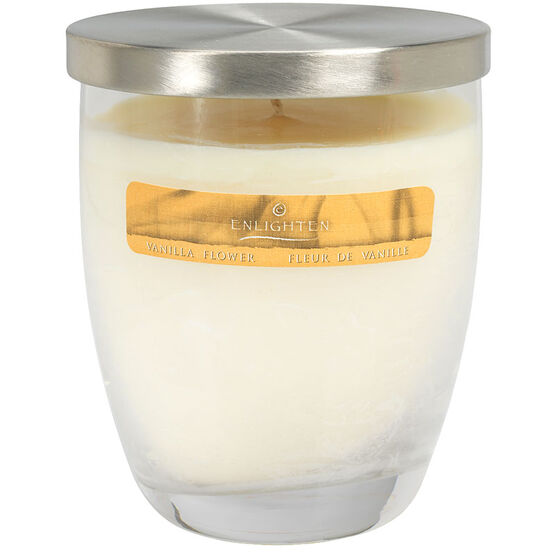Wax Jar Candle with Lid -  Vanilla Flower - 10oz