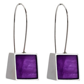 Merx Resin Shell Drop Earrings - Purple