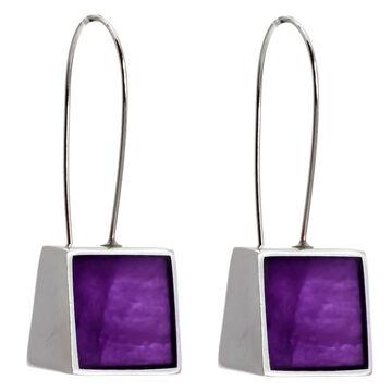 Merx Resin Shell Drop Earrings - Purple