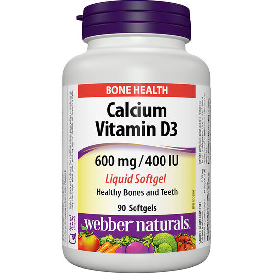 Webber Naturals Calcium with D3 Liquid Softgel - 600mg/400IU - 90's