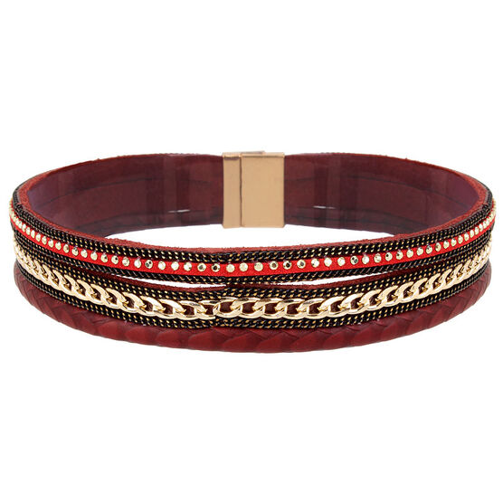 Haskell Wrap Bracelet - Berry/Gold