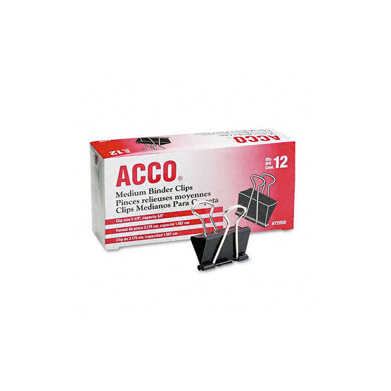 ACCO Fold Back Binder Clips Medium - Black - 1.25 Inch - 12 Clips