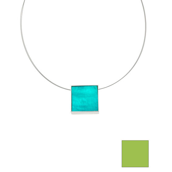 Merx Reversible Square Resin Shell Wire Necklace - Turquoise/Lime