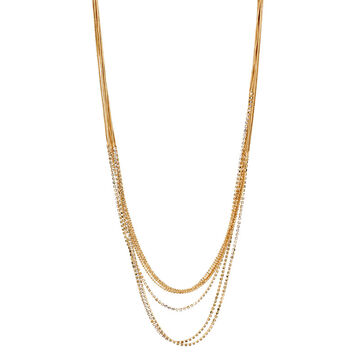 Haskell Multi Chain Necklace - Crystal/Gold