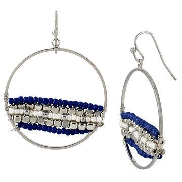 Haskell Beaded Hoop Earrings - Navy
