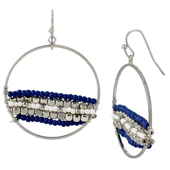 Haskell Beaded Hoop Earrings - Navy