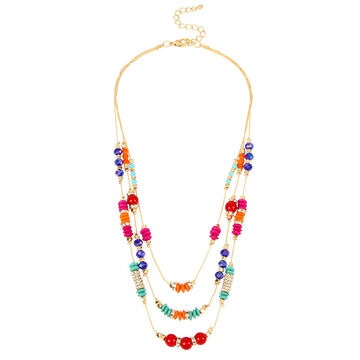 Haskell Three Row Bead Necklace - Multi