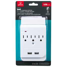 Globe Tap-Surge Protector with 2 USB+3 Outlets - 78081