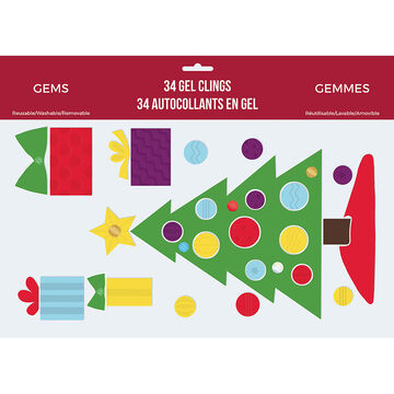 Christmas Printed Gel Clings - Assorted