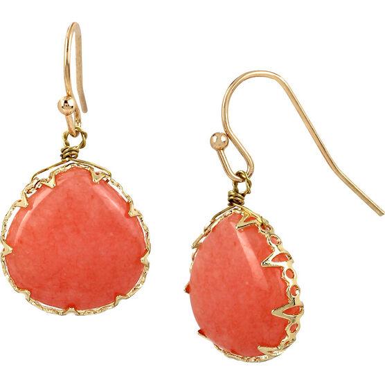 Haskell Drop Earrings - Peach/Gold