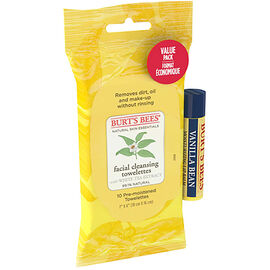 Burt's Bees Facial Cleansing Towelettes with Vanilla Bean Lip Balm