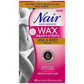 Nair Hair Remover Wax Ready Strips - Legs & Body - 40's/4s