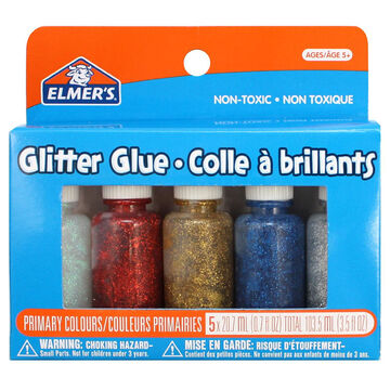 Elmers Glitter Glue - Primary Colours - 5 Pack