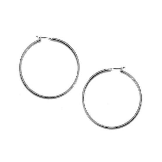 Kenneth Cole Large Shiny Hoop Earrings - Silver Tone