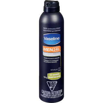 Vaseline Men 24h Moisture Fast Absorbing Spray Lotion - 184g