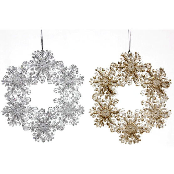 Winter Wishes Champagne & Silver Snowflake Ornament - Assorted