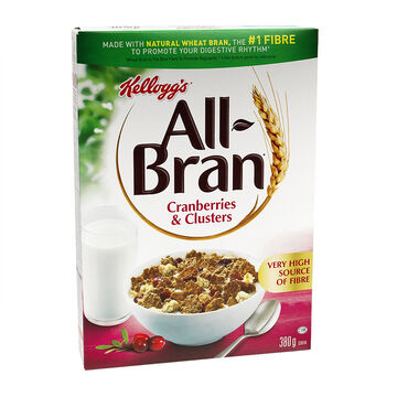 Kellogg's All Bran Cereal - Cranberry & Clusters - 380g