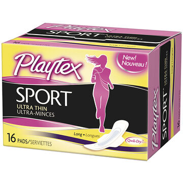 Playtex Sport Ultra Thin Pads with Wings - Long - 16's