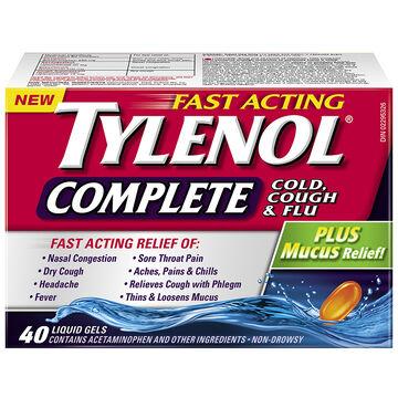 Tylenol* Complete Cold Cough & Flu Liquid Gels - 40's