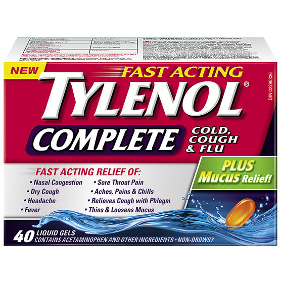 Tylenol* Complete Cold Cough & Flu Liquid Gels - 40's