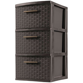 Sterilite Weave 3 Drawer Tower - Espresso