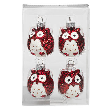 Winter Wishes Candy Cane Lane Owl Ornaments - 4 pack