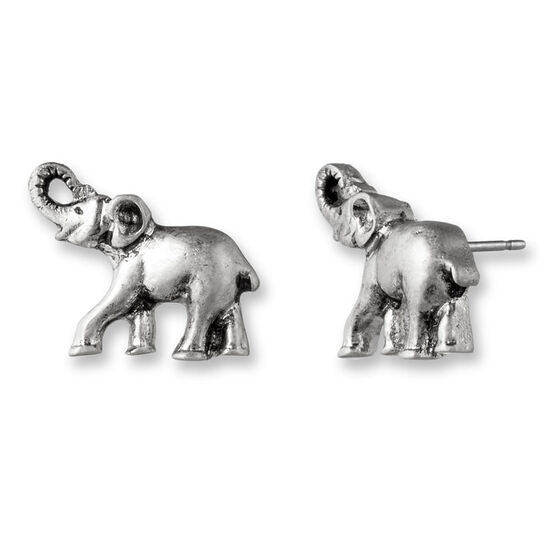 Lonna & Lilly Elephant Button Earrings - Silver Tone