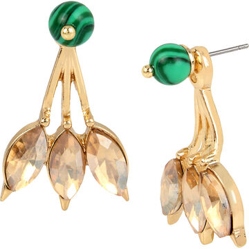 Haskell Crystal Front Back Earrings - Green/Gold