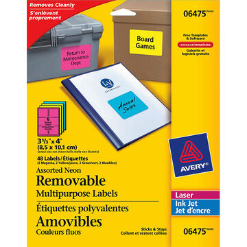 Avery Neon Removable Multipurpose Labels - 6475