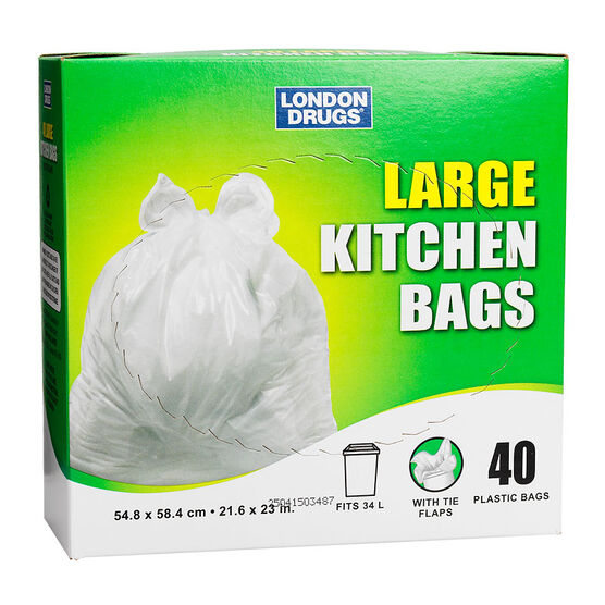 London Drugs Plastic Kitchen Bags - White - Large/40's