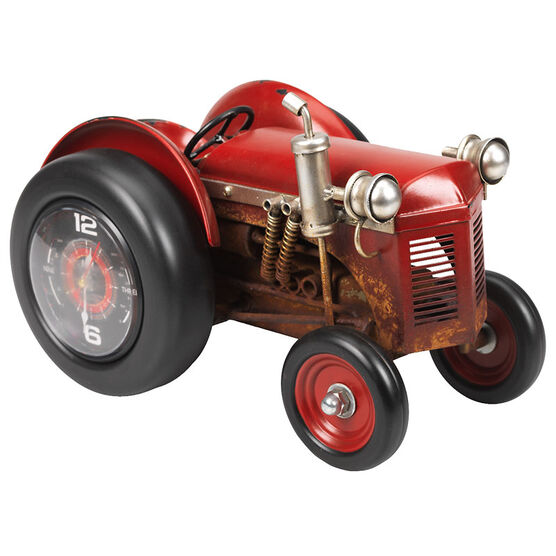 London Drugs Metal Tractor Clock - Red