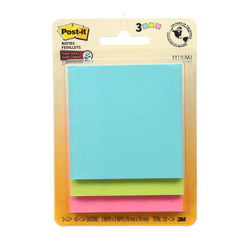 3M Post-it Super Sticky Notes - 3 pads per pack