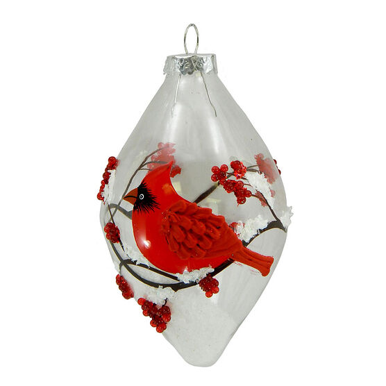 Christmas Forever Winter Cardinal Glass Drop Ornament - 5in - Clear - XM-BG1016