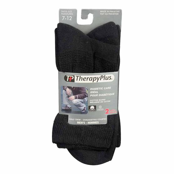 TherapyPlus Men's Diabetic Casual Crew Socks - Shoe Size 7-12 - Black - 2 pairs