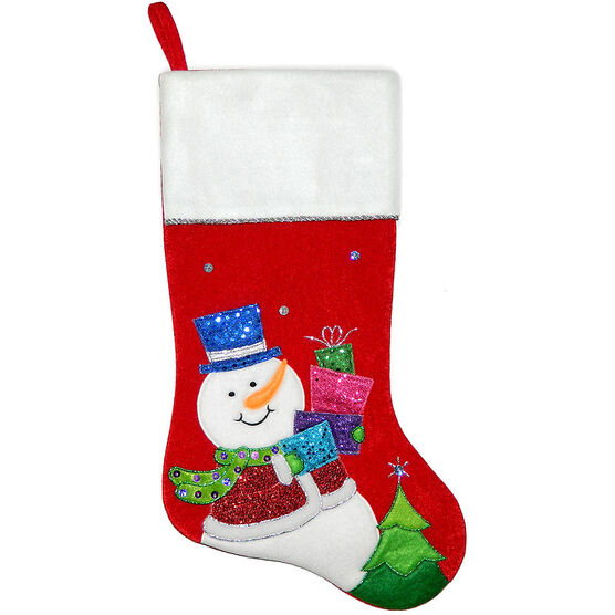 Christmas Forever Snowman Stocking - 20.5in - Red - XM-US2724