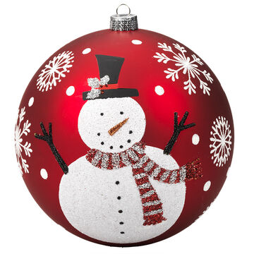 Winter Wishes Candy Cane Lane Snowman Ornament - Red & White