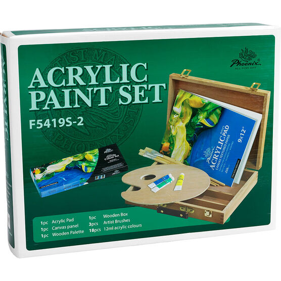 Acrylic Paint Set With Wooden Box - 6 piece - SS0028