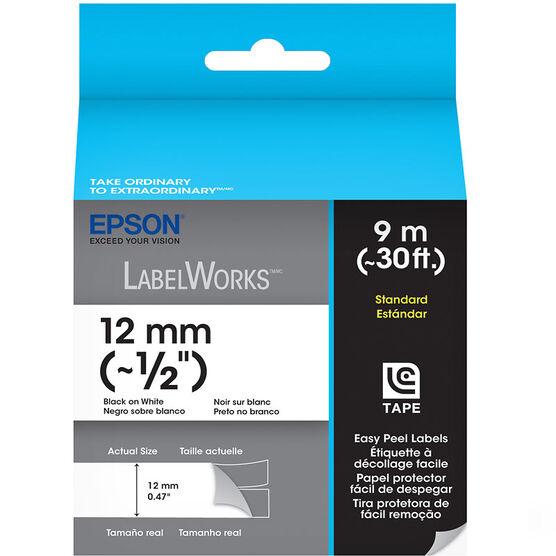 "Epson Black on White Easy Peel Label 1/2"" - 12mm x 9m"