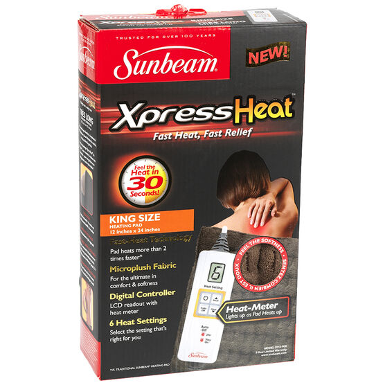 Sunbeam XpressHeat Heating Pad - Brown - King Size