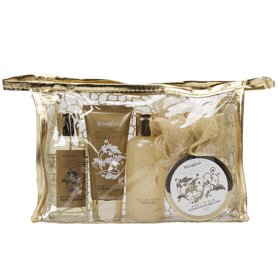 Bloomfield Gold Cosmetic Gift Bag Set - Golden Vanilla Embers - 5 piece